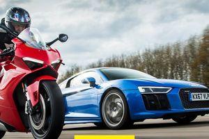 Ducati Panigale V4 đánh bại Audi R8 V10 trên đường thẳng