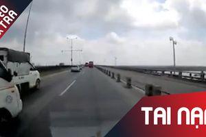 Xe tải đột ngột chuyển làn, tông bể đầu xe ôtô trên đường