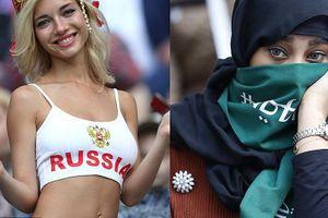 Nữ cổ động viên Nga mát mẻ vs nữ CĐV Saudi Arabia kín bưng ở World Cup