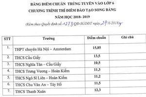 Điểm chuẩn vào lớp 6 chương trình song bằng của Hà Nội thấp nhất 10,5 điểm
