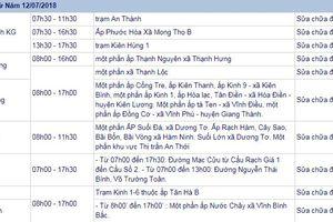 THÔNG BÁO: Lịch cúp điện Kiên Giang từ ngày 11/7/2018 đến ngày 12/7/2018