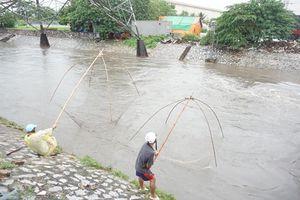 Mưa lớn đường ngập sâu, người Hà Nội tranh thủ đem lưới đi bắt cá