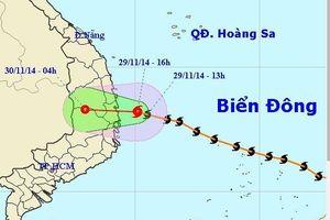 Tin bão số 4 tối 29/11: Đường đi, hướng di chuyển của bão nhìn từ vệ tinh