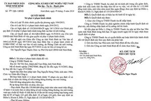 Ninh Bình: Xử phạt 150 triệu đồng vì xả thải vượt quy chuẩn