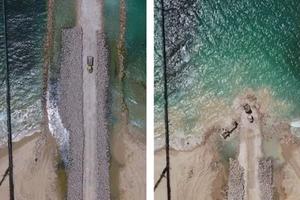 Bộ Quốc phòng Israel tiết lộ hình ảnh về rào chắn trên biển gần Gaza