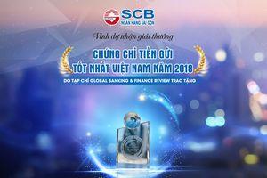SCB đón nhận giải thưởng Chứng chỉ tiền gửi tốt nhất Việt Nam năm 2018
