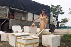 Thanh Hóa: Bắt xe tải việc vận chuyển 250kg thịt gà không rõ nguồn gốc