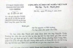 Chủ tịch TP Hà Nội chỉ đạo kiểm tra việc cấp GCNQSD đất cho người dân Khu tập thể Tổng cục Dân số