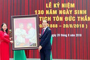 Chủ tịch nước Trần Đại Quang dự kỷ niệm 130 năm ngày sinh Chủ tịch Tôn Đức Thắng