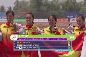 Clip: Giành HCV ASIAD, đội Rowing nữ Việt Nam vui sướng vỡ òa
