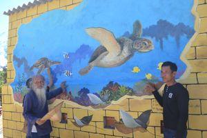 Ra Lý Sơn bảo vệ rùa biển bằng tranh bích họa 3D