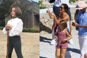 Con gái út của Beckham gây tranh cãi vì mặc áo hở rốn, mang giày cao gót