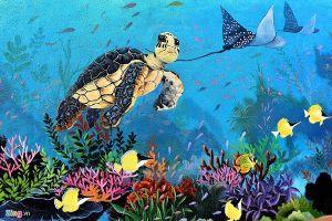Bích họa 3D mang thông điệp bảo vệ rùa biển ở huyện đảo Lý Sơn