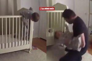 Khoảnh khắc thót tim khi bố cứu con trai ngã cắm đầu xuống đất