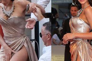 Bạn gái Neymar luống cuống vì váy xẻ cao đến 'thót tim'