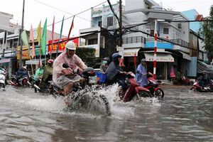 Mưa to suốt 3 tiếng, nhiều tuyến đường đô thị Cà Mau ngập sâu
