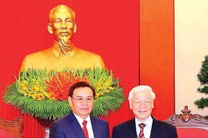 Tổng Bí thư Nguyễn Phú Trọng tiếp đoàn Ủy ban Trung ương Mặt trận Lào xây dựng đất nước