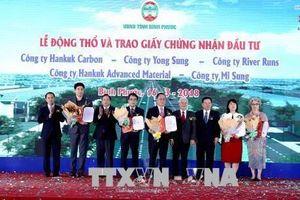 Năm dự án vốn đầu tư nước ngoài đồng loạt khởi công tại Bình Phước
