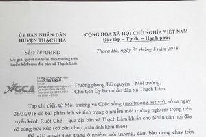 UBND huyện Thạch Hà: Chỉ đạo giải quyết ô nhiễm môi trường tại kênh Ruột Chó