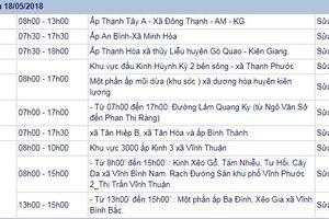 THÔNG BÁO: Lịch cúp điện Kiên Giang từ ngày 17/5/2018 đến ngày 19/5/2018