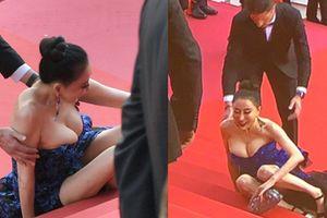 Hoa hậu Quý bà Trung Quốc đáp trả chỉ trích 'giả vờ té ngã để khoe ngực' tại thảm đỏ Cannes 2018