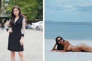 Đỗ Mỹ Linh diện bộ cánh như quý bà U40, Minh Triệu không mặc bikini khoe body trên bãi biển