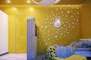 Nội thất phòng trẻ em với tông màu vàng ấn tượng