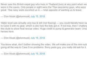 Elon Musk công kích thợ lặn người Anh 'dám' nói tàu ngầm giải cứu 'chỉ là chiêu trò đánh bóng tên tuổi'