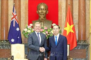 Các nhà lãnh đạo cấp cao Việt Nam tiếp Chủ tịch Hạ viện Australia Tony Smith