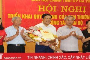 Công bố quyết định bổ nhiệm Trưởng ban Nội chính Tỉnh ủy Hà Tĩnh