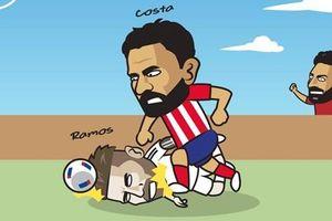 Biếm họa 24h: Diego Costa thay Mohamed Salah 'trả thù' Sergio Ramos