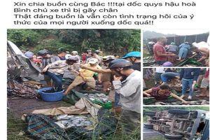 Xe cá bị lật, dân mua lại cá giúp chủ xe bớt thiệt hại