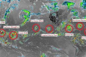 Hình ảnh vệ tinh 9 cơn bão mạnh cùng lúc xuất hiện bủa vây thế giới