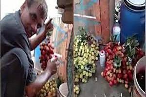 Nữ du khách bắt quả tang người bán hàng phun sơn biến nho xanh thành đỏ
