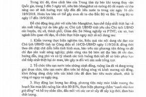 Công điện khẩn số 17 của UBND tỉnh Thanh Hóa về việc chỉ đạo thu hoạch lúa và các sản phẩm trồng trọt để ứng phó với siêu bão Mangkhut