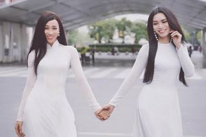 BB Trần và Hải Triều diện áo dài trắng thướt tha với mái tóc thề trên đất Thái