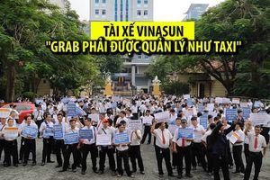Hàng trăm tài xế taxi giăng biểu ngữ tại phiên xử 'Vinasun kiện Grab'