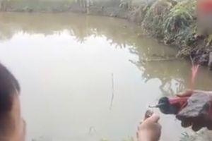 Trẻ trâu Việt liều mạng quay clip ném mìn xuống ao câu view