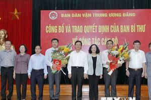 Công bố quyết định bổ nhiệm hai Phó trưởng Ban Dân vận Trung ương
