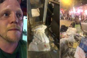 Clip: Ông Tây mướt mồ hôi dọn rác trên phố cổ đêm Trung thu