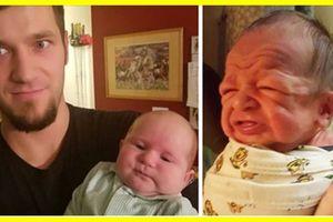 Chết cười với biểu cảm cực hài hước của bé sơ sinh