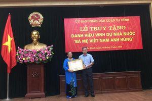 Truy tặng danh hiệu Bà mẹ Việt Nam Anh hùng cho mẹ Nguyễn Thị Nho