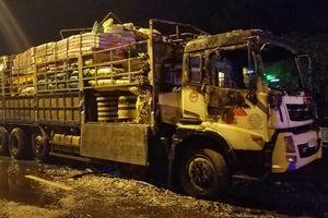 Xe tải đang leo đèo Mẹ Bồng Con thì phát cháy