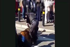 Kinh hoàng clip chó nghiệp vụ cắn chặt nam thanh niên tham gia đánh nhau