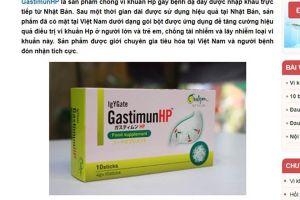 'Nổ' quảng cáo sản phẩm GastimunHP, Cty dược phẩm Đông Đô bị phạt 75 triệu đồng