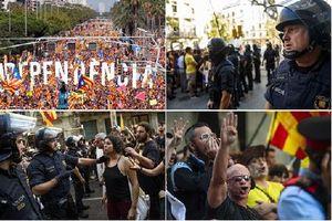 Cảnh sát chống bạo động Barcelona được 'nhuộm màu' khi trấn áp biểu tình