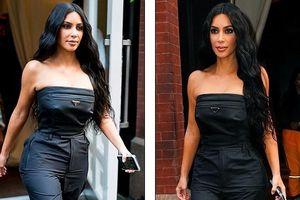 Kim Kardashian quyến rũ xuống phố với jumpsuit cúp ngực gợi cảm