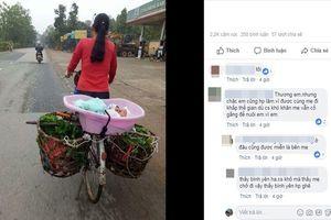 RƠI NƯỚC MẮT bức ảnh mẹ đặt con mới sinh trong chậu, đạp xe đi bán rau để kiếm sống