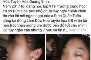 Mới sinh con hơn 1 tháng, vợ 16 tuổi lên mạng xã hội tố bị chồng bạo hành