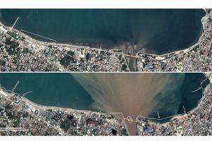 Ảnh vệ tinh chụp thành phố Palu, Indonesia trước và sau thảm họa kép